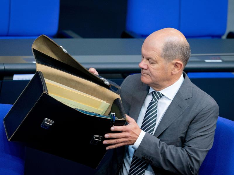 Bundesfinanzminister Olaf Scholz (SPD) im Bundestag. Foto: Kay Nietfeld/dpa