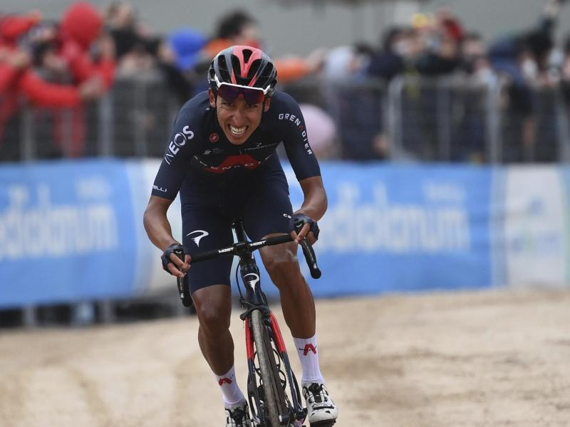 Egan Bernal gewann die zweite Giro-Bergankunft. Foto: Gian Mattia D'alberto/LaPresse/AP/dpa