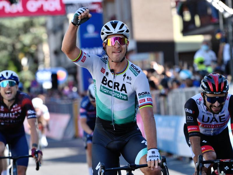 Peter Sagan vom deutschen Team Bora-hansgrohe gewann die zehnte Giro-Etappe. Foto: Gian Mattia D'alberto/LaPresse/AP/dpa