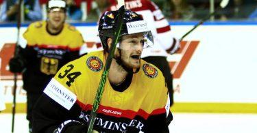 Eishockey-Star Tom Kühnhackl feiert sein WM-Debüt. Foto: Stefan Diepold/eishockey-online.com/dpa