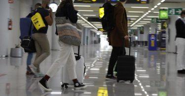 Passagiere kommen am Flughafen von Mallorca an. Foto: Clara Margais/dpa