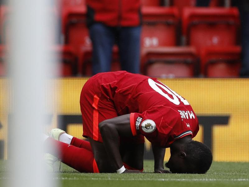 Liverpools Sadio Mane feiert nach seinem Tor zum 1:0. Foto: Phil Noble/Pool Reuters/AP/dpa