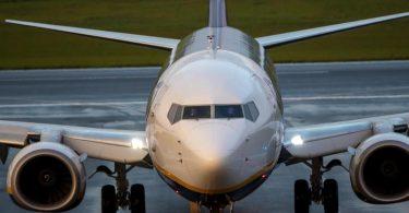 Das Ryanair-Flugzeug bei der Landung in Vilnius. Foto: Mindaugas Kulbis/AP/dpa