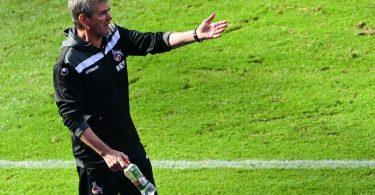 Ist mit Köln Favorit gegen Kiel: FC-Coach Friedhelm Funkel. Foto: Soeren Stache/dpa-Pool/dpa