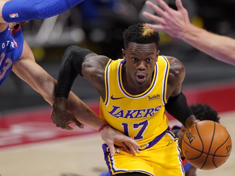 Dennis Schröder büßte mit den Los Angeles Lakers in den Playoffs die Führung ein. Foto: Carlos Osorio/AP/dpa