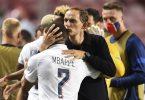 Erreichten mit PSG zusammen das Champions-League-Finale: Thomas Tuchel (r) und Kylian Mbappé. Foto: David Ramos/Pool Getty/AP/dpa