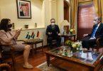 Schwedens Außenministerin Ann Linde (l-r), Bundesaußenminister Heiko Maas (SPD) und der jordanische Außenminister Aman Safadi sprechen während der Nuklearkonferenz miteinander. Foto: Michael Fischer/dpa