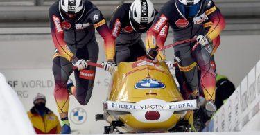 Fuhr mit seiner Crew zu seinem ersten Vierer-EM-Titel:Francesco Friedrich (vorne). Foto: Caroline Seidel/dpa