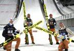 Deutschlands Skispringer Martin Hamann (l-r), Pius Paschke, Markus Eisenbichler und Karl Geiger. Foto: Markku Ulander/Lehtikuva/dpa