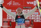 Karl Geiger setzte sich beim Skiflug-Wettkampf in Planica mit einem Sprung über 232 Meter durch. Foto: Uncredited/AP/dpa