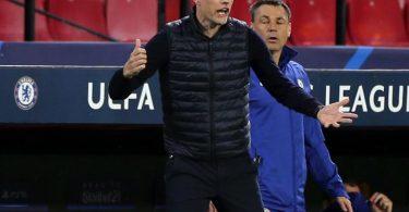 Thomas Tuchel, Trainer von FC Chelsea, gestikuliert beim Spiel gegen den FC Porto an der Seitenlinie. Foto: Isabel Infantes/PA Wire/dpa
