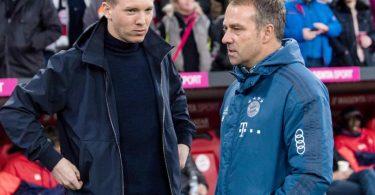 Mit der Verpflichtung von Trainer Julian Nagelsmann (l) macht Bayern München für Hansi Flick den Weg ins Amt des Bundestrainers frei. Foto: Matthias Balk/dpa
