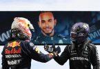 Lewis Hamilton (r) und Max Verstappen liefern sich einen Zweikampf an der Spitze. Foto: Gabriel Bouys/Pool AFP/AP/dpa