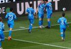 Holstein Kiel hat nach dem ersten Relegationsspiel in Köln die Tür zur Bundesliga weit aufgestoßen. Foto: Rolf Vennenbernd/dpa Pool/dpa