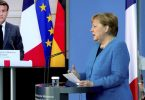 Emmanuel Macron und Angela Merkel sind bei der Spionage-Affäre einer Meinung. Foto: Michael Sohn/POOL AP/dpa