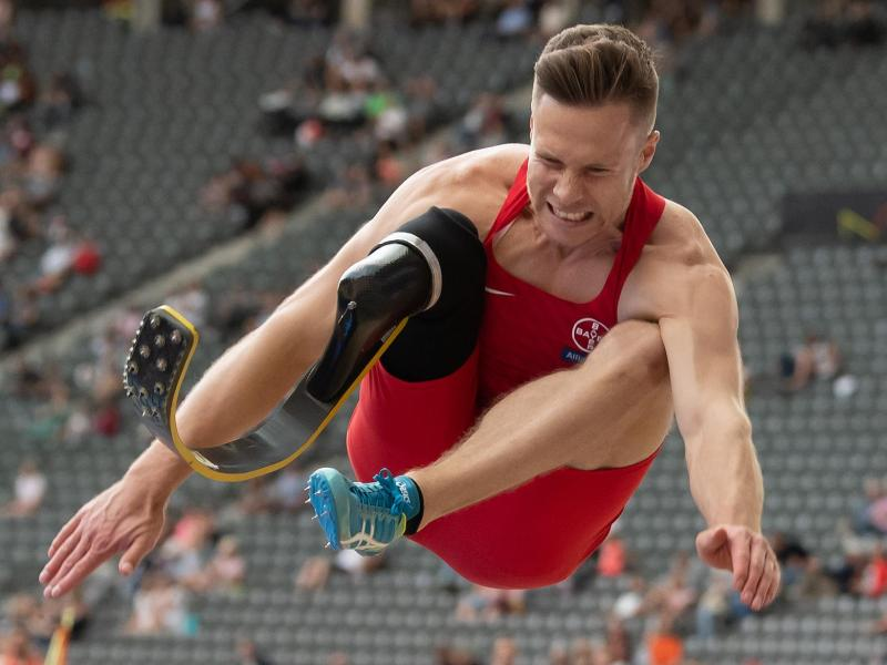 Sprint bei den Europameisterschaften der Para-Leichtathleten Weltrekord: Markus Rehm. Foto: Sven Hoppe/dpa