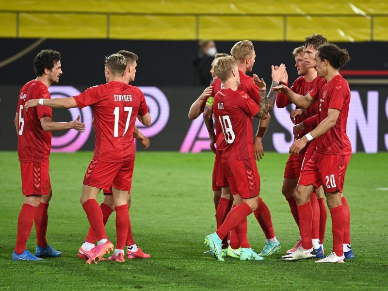 Die Spieler von Dänemark haben das 1:1 erzielt. Foto: Federico Gambarini/dpa
