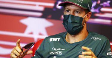 Will den Schwung aus Monaco mit nach Baku nehmen:Sebastian Vettel nimmt an einer Pressekonferenz in Baku teil. Foto: Francois Nel/Pool Getty/AP/dpa