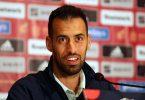 Der Kapitän der Spanier wurde positiv auf das Corona-Virus getestet: Sergio Busquets bei einer Pressekonferenz. Foto: -/Ukrinform/dpa