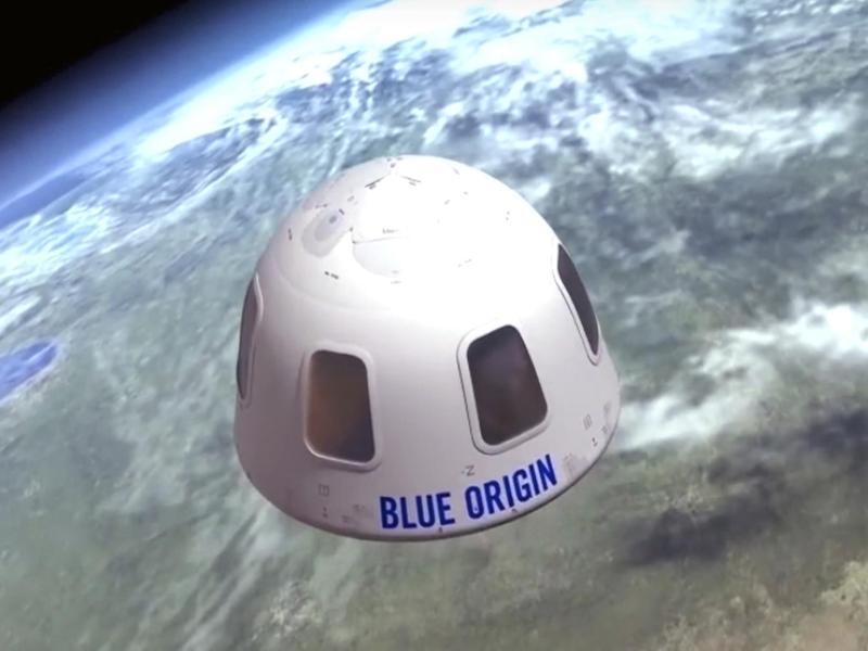 Diese undatierte Illustration von Blue Origin zeigt die Kapsel, mit der die Firma Touristen ins All bringen will. Ein Sitzplatz für den ersten bemannten Weltraumflug ist für 28Millionen US-Dollar versteigert worden. Foto: Uncredited/Blue Origin/AP/dpa
