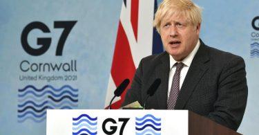 Der britische Premier Boris Johnson am letzten Tag des G7-Gipfels. Foto: Ben Stansall/Pool AFP/AP/dpa