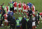 Dänemarks Nationalspieler rücken nach dem Drama um ihren Mitspieler noch enger zusammen. Foto: Wolfgang Rattay/POOL REUTERS/AP/dpa