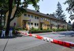 In dieser Häuserzeile in Espelkamp sind nach Angaben der Bielefelder Polizei zwei Menschen erschossen worden. Foto: Lino Mirgeler/dpa