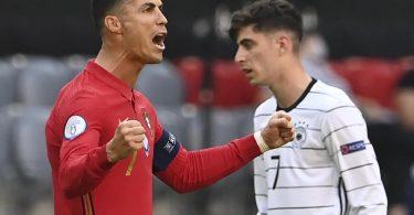 Portugals Cristiano Ronaldo bejubelt sein Tor zum zwischenzeitlichen 1:0 gegen Deutschland. Foto: Christof Stache/Pool AFP/dpa