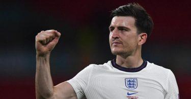 Die Engländer um Harry Maguire erreichten ohne Gegentreffer das EM-Achtelfinale. Foto: Justin Tallis/AFP Pool/AP/dpa