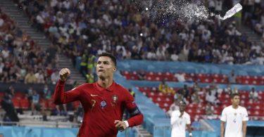 Jubelt über sein 109. Tor für Portugal: Christiano Ronaldo. Foto: Bernadett Szabo/Reuters Pool/AP/dpa