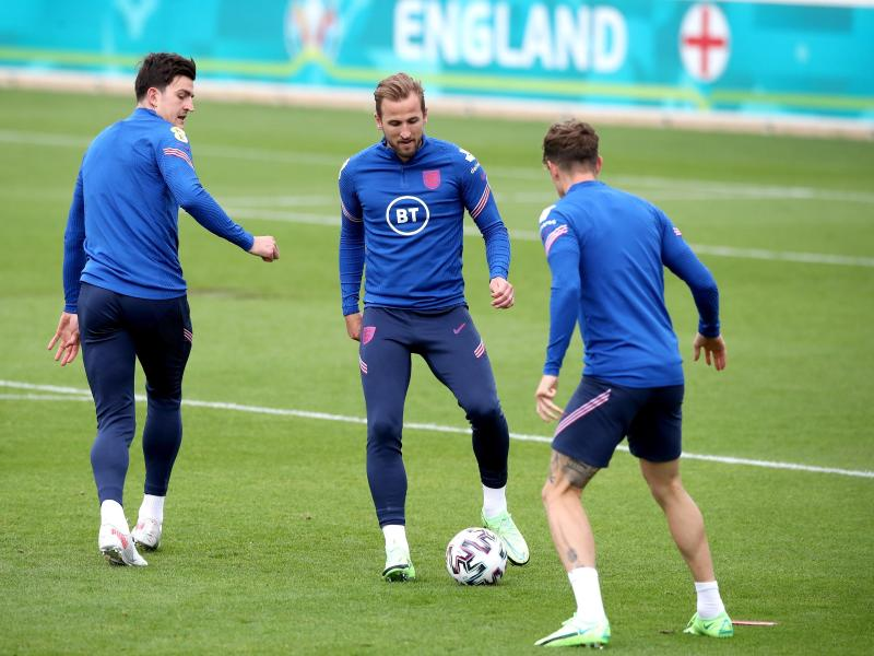 Englands Topstürmer Harry Kane (M) konnte bei dieser EM noch nicht treffen. Foto: Nick Potts/PA Wire/dpa
