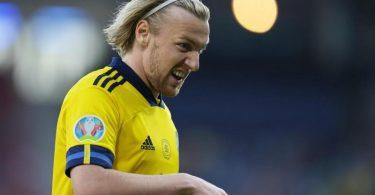 Für Emil Forsberg und Schweden ist die EM beendet. Foto: Petr David Josek/Pool AP/dpa