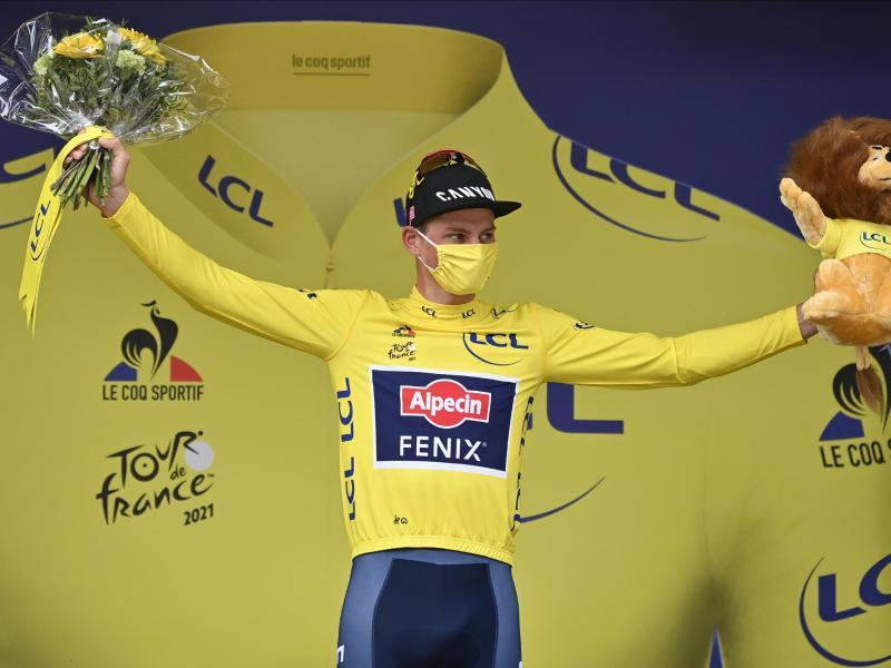 Verteidigt Mathieu van der Poel sein Gelbes Trikot auch auf der ersten Bergetappe der Tour 2021?. Foto: David Stockman/BELGA/dpa