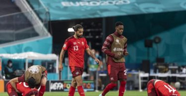 Erst im Elfmeterschießen musste sich die Schweiz dem einstigen Welt- und Europameister Spanien geschlagen geben. Foto: Jean-Christophe Bott/KEYSTONE/dpa