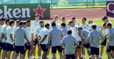 Die spanische Nationalmannschaft bereitet sich in der Heimat auf das Halbfinale gegen Italien vor. Foto: Manu Fernandez/AP/dpa