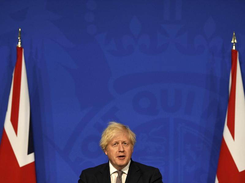 Der britische Premier Boris Johnson bei einerPressekonferenz in der Downing Street. Foto: Daniel Leal-Olivas/POOL AFP/AP/dpa