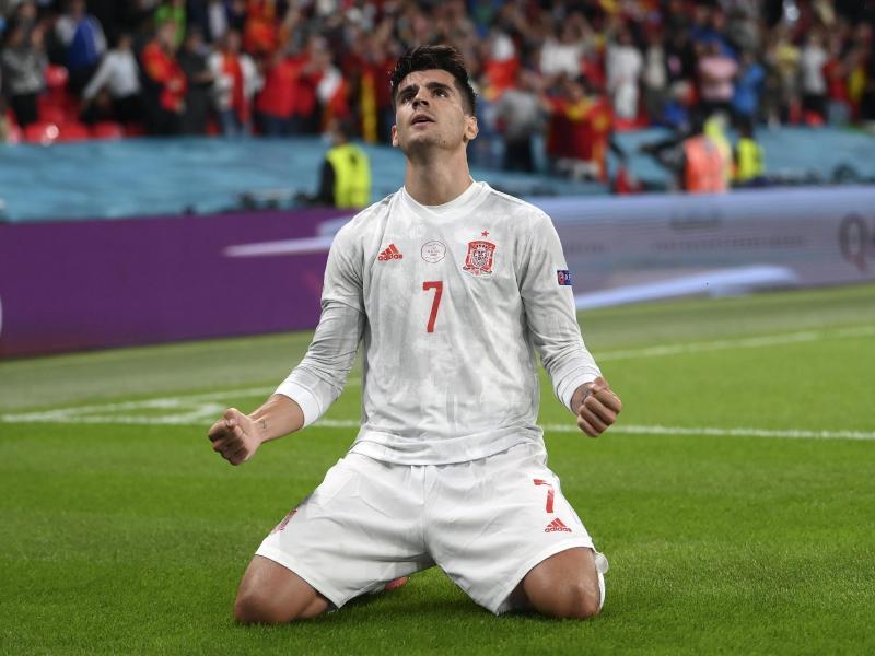 Alvaro Morata sorgte für den Ausgleich und brachte Spanien in die Verlängerung. Foto: Laurence Griffiths/Pool Getty/AP/dpa