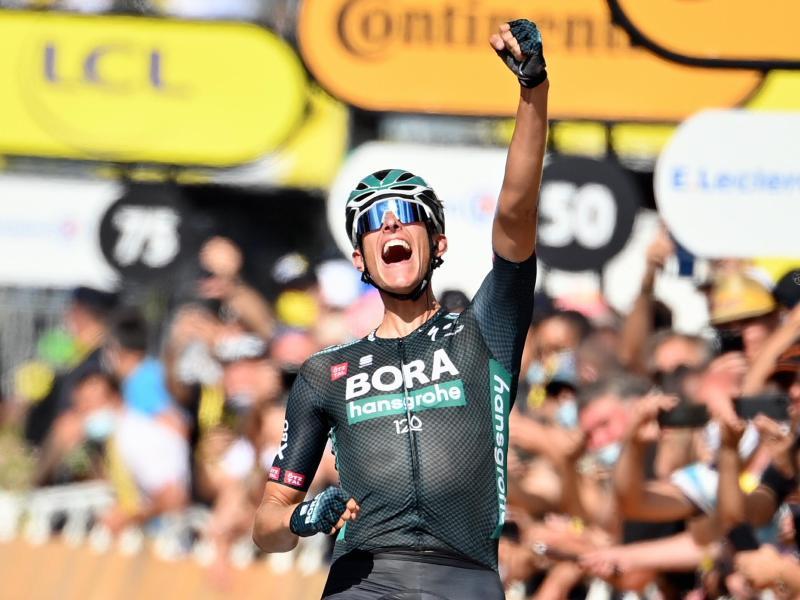 Nils Politt sorgte als Ausreißer für den ersten deutschen Etappensieg bei der Tour der France 2021. Foto: David Stockman/BELGA/dpa