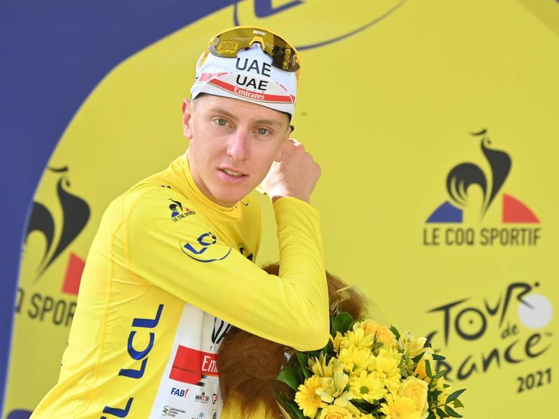 Dominiert die 108. Tour de France: Der Slowene Tadej Pogacar. Foto: David Stockman/BELGA/dpa
