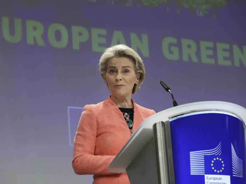 Ursula von der Leyen, Präsidentin der Europäischen Kommission, spricht bei einer Pressekonferenz im EU-Hauptquartier. Foto: Valeria Mongelli/AP/dpa