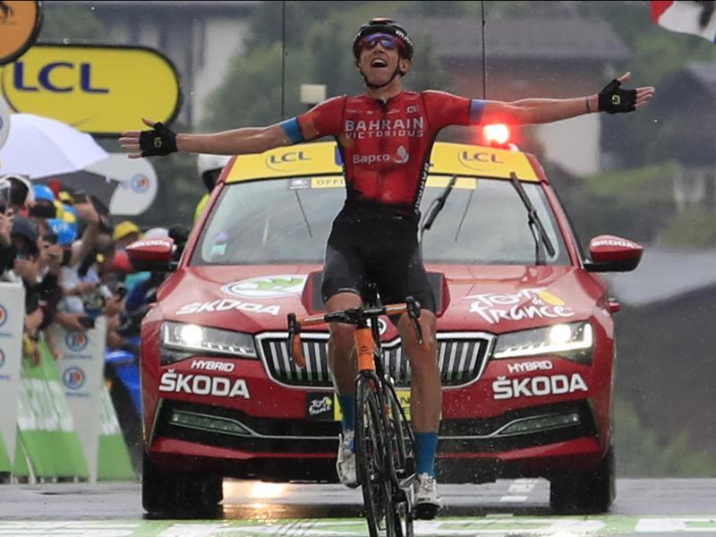 Dylan Teuns gewann für Bahrain Victorious die 8. Etappe der Tour de France 2021. Foto: Pool Luca Bettini/BELGA/dpa