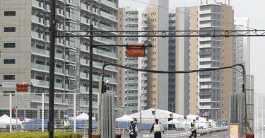 Das Athletendorf für die Olympischen Spiele in Tokio steht im Hafenviertel Harumi. Foto: ---/Kyodo/dpa
