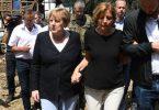 Kanzlerin im Katastrophengebiet: Begleitet von Rheinland-Pfalz' Ministerpräsidentin Malu Dreyer hat Angela Merkel den Hochwasser-Hotspot Schuld besucht. Foto: Christof Stache/POOL AFP/dpa