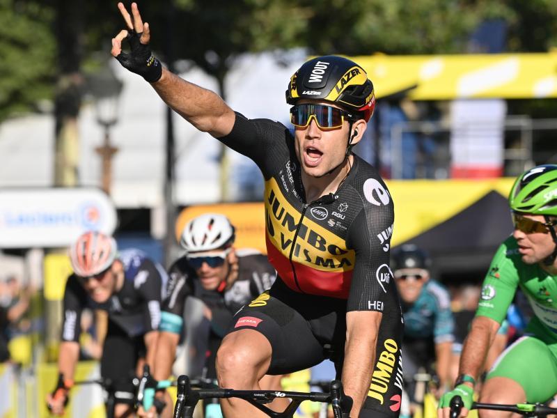 Sicherte sich den Sieg der letzten Etappe in Paris: Wout van Aert. Foto: Pete Goding/BELGA/dpa
