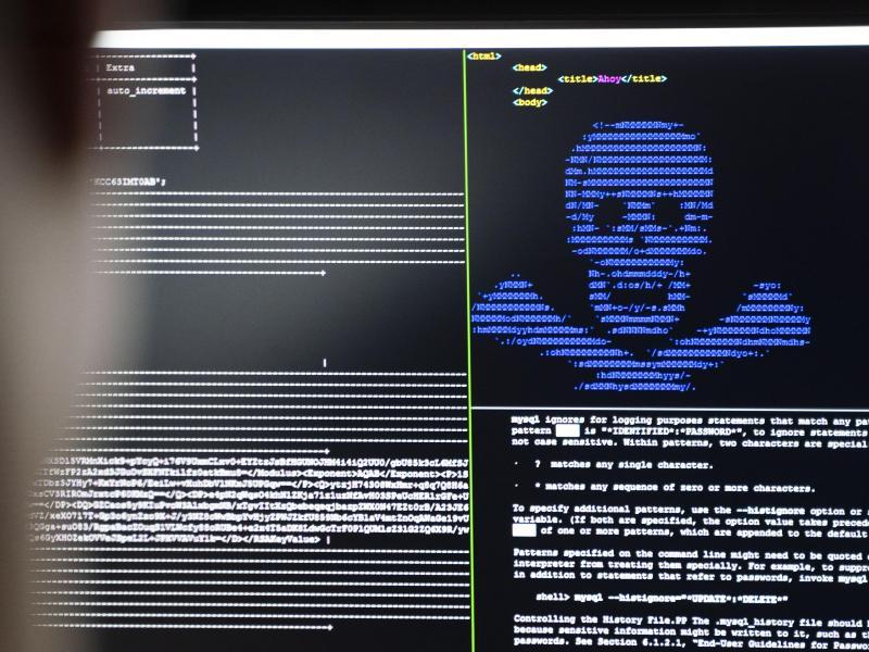 """IT-Security-Wissenschaftler trainieren in einem Cybersicherheitszentrum, wie eingeschleuste Erpresser-Programme (""""Ransomware"""") unschädlich gemacht werden können. Foto: Frank Rumpenhorst/dpa"""