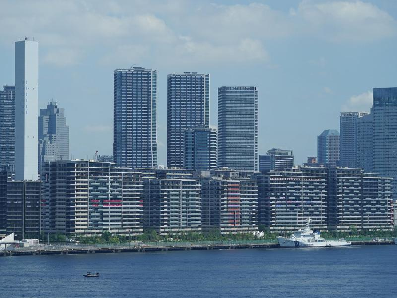 Ein Blick auf die Gebäude vom olympischen Dorf, einer Wohnsiedlung für die Athleten der Sommerspiele in Tokio. Foto: Mike Egerton/PA Wire/dpa