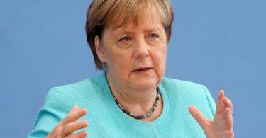 Bundeskanzlerin Angela Merkel (CDU) in der Bundespressekonferenz. Foto: Wolfgang Kumm/dpa