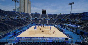 Das Beachvolleyball-Stadion in Tokio. Foto: Mike Egerton/PA Wire/dpa