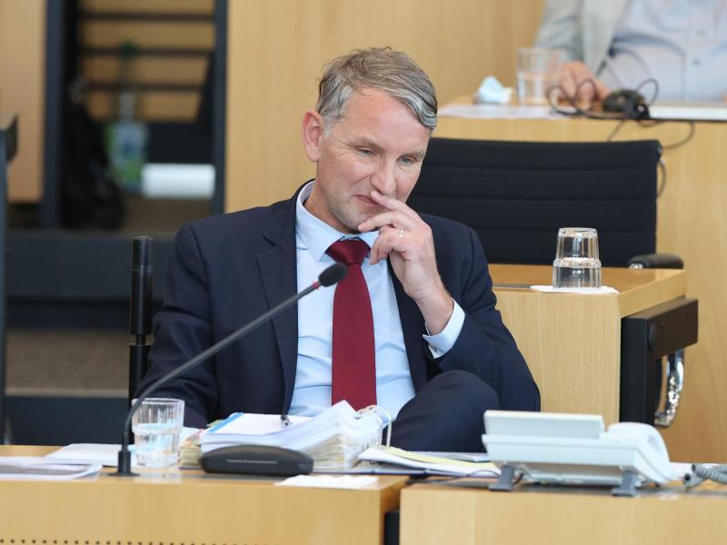 Björn Höcke während der Abstimmung auf seinem Platz im Plenarsaal. Foto: Bodo Schackow/dpa-Zentralbild/dpa