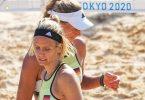 Laura Ludwig (l) und Margareta Kozuch verloren zum Olympia-Auftakt. Foto: Michael Kappeler/dpa